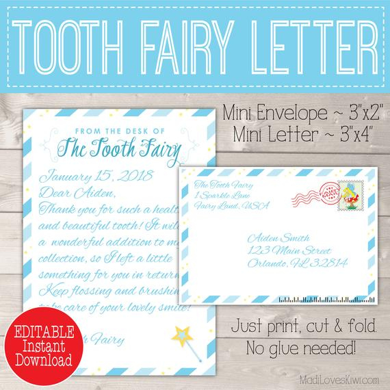 Personalized Tooth Fairy Letter Kit Boy, Printable Download First Lost Tooth Note Set Envelope Template Pdf Digital Gift Idea No Teeth Cards In Printable Tooth Fairy Certificate Template Free