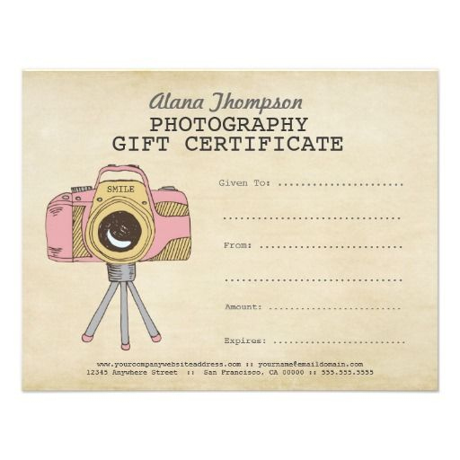 Photographer Photography Gift Certificate Template | Zazzle With Photoshoot Gift Certificate Template