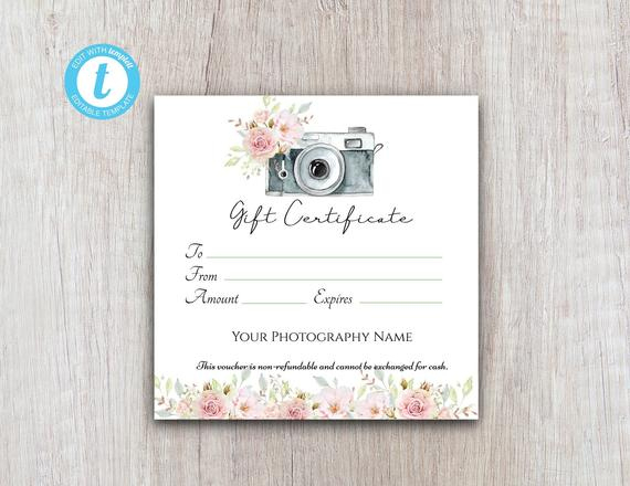Photography Gift Certificate Template, Gift Voucher Printable Template, Gift Card Download For Customers For Free Photography Gift Certificate Template