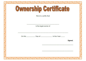 Pin On Certificate Of Ownership Free Ideas Intended For Professional Ownership Certificate Template