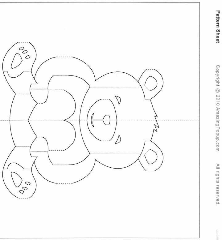 Pin On Kartki With Free Teddy Bear Pop Up Card Template Free