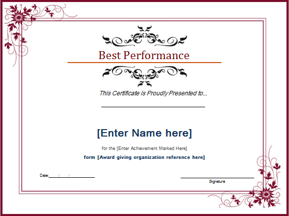 Pin On Microsoft Templates Inside Professional Best Performance Certificate Template