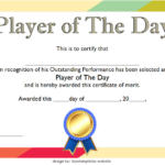 Player Of The Day Certificate Template Free Printable 2 In Throughout Player Of The Day Certificate Template