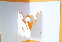Printable 3D Pop Up Cat Card Template Diy Card Template Cat Lovers Card Template Print My Own Kitty Cat Greeting Card Feline Card With Regard To Diy Pop Up Cards Templates