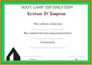 Printable Boot Camp Certificate | Certificate Templates With Printable Boot Camp Certificate Template