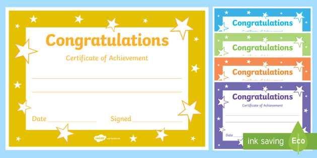 Printable Congratulations Certificate Template With Regard To Printable Certificate Of Achievement Template For Kids