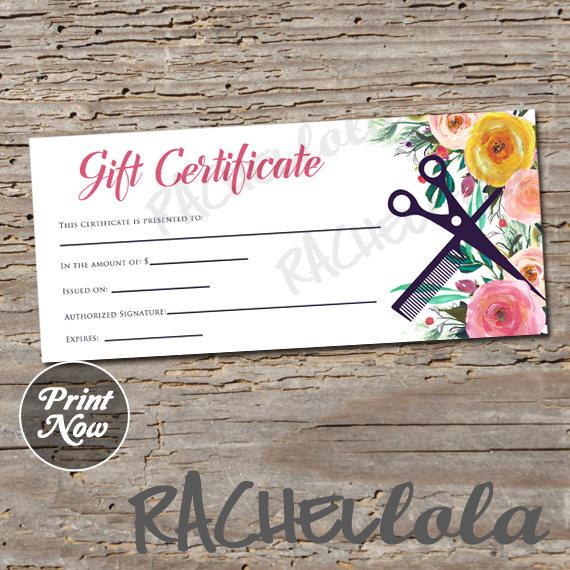 Printable Hair Salon Gift Certificate Template, Hair Stylist Gift Voucher, Gift Card, Instant Download, Mothers Day, Birthday, Floral Spring With Regard To Best Salon Gift Certificate Template