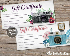 Printable Photography Gift Certificate Template, Photo Session Voucher, Spring, Mothers Day, Christmas, Instant Download, Photographer Pertaining To 11+ Free Photography Gift Certificate Template