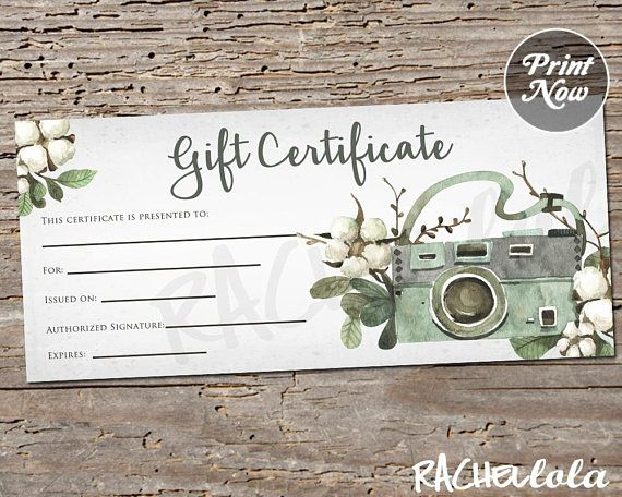 Printable Photography Gift Certificate Template, Spring Intended For Free Photography Gift Certificate Template