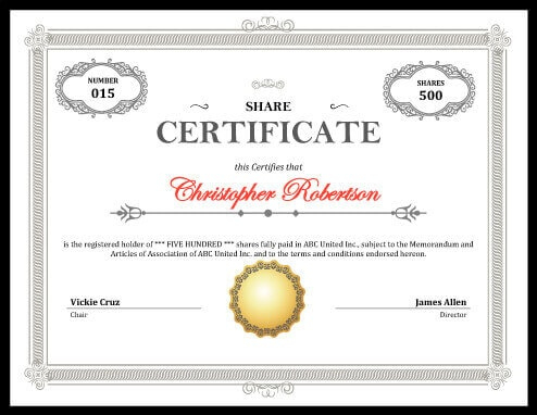 Printable Stock Certificate [Free Download] | Hloom Pertaining To Best Template Of Share Certificate