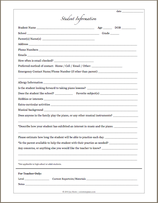 Printables Updated: Student Info Form, And Student Interview Intended For Student Information Card Template