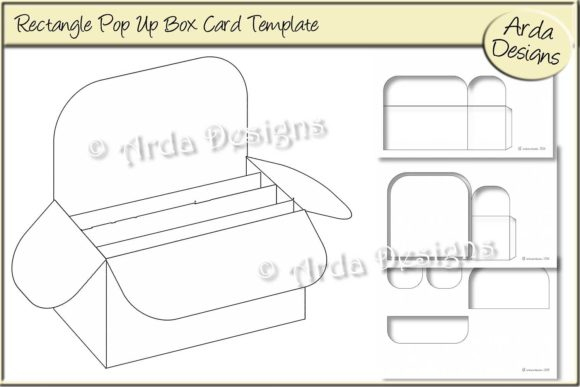 Rectangle Pop Up Box Card Cu Template Intended For Pop Up Card Box Template