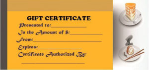 Restaurant Gift Certificate Templates: Gift Tastefully To Regarding Best Restaurant Gift Certificate Template