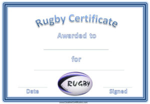 Rugby Certificates With A Blue And White Rugby Ball Within Quality Rugby League Certificate Templates
