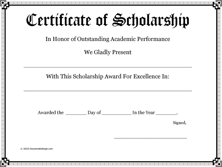 Scholarship Certificate Download Free Documents For Pdf Inside Scholarship Certificate Template Word