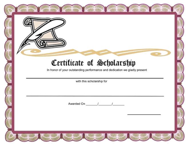 Scholarship Certificate Template 11 Best Templates Ideas Regarding Quality Scholarship Certificate Template Word