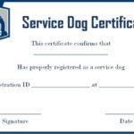 Service Dog Certificate Template Free | Service Dogs For Best Service Dog Certificate Template