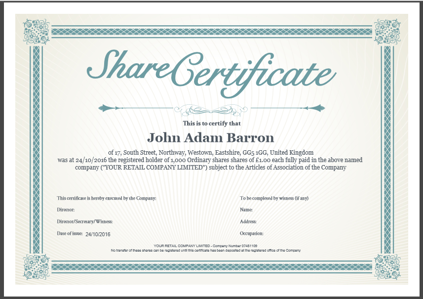 Share Certificate Template: What Needs To Be Included With Regard To Template Of Share Certificate