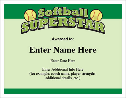 Softball Superstar Certificate Award Template | Fastpitch Pertaining To Free Softball Certificate Templates