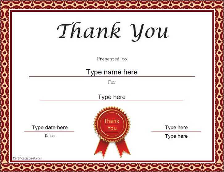 Special Certificates Thank You Certificate Template Inside Thanks Certificate Template