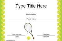 Sports Certificates Tennis Award Certificate   Tennis Inside Tennis Gift Certificate Template