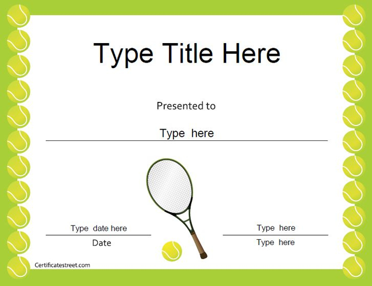 Sports Certificates Tennis Award Certificate | Tennis Inside Tennis Gift Certificate Template