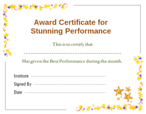 Stars Award Certificate For Performance Template | Office With Regard To Professional Best Performance Certificate Template
