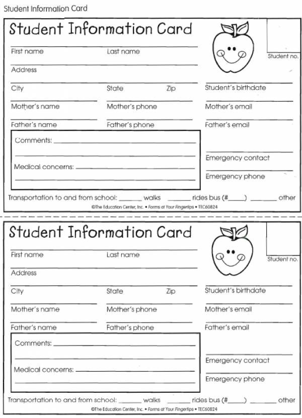 Student Information Card | Lovetoteach | Student Within Student Information Card Template