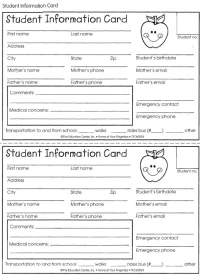 Student Information Card | Student Information, Student Info Throughout Student Information Card Template