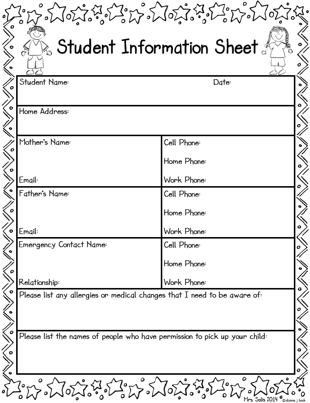 Student Information Sheet Freebie | Student Information Inside Student Information Card Template