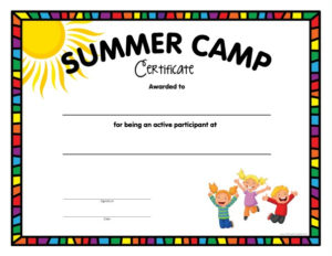 Summer Camp Certificate Free Printable Allfreeprintable Within Summer Camp Certificate Template