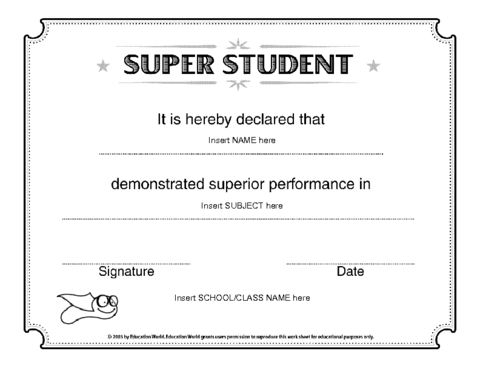 Super Student Certificate Template   Student Certificates Pertaining To Free Student Certificate Templates
