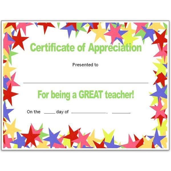 Teacher Appriecation Certificates | Stars Teacher'S Regarding Best Teacher Of The Month Certificate Template