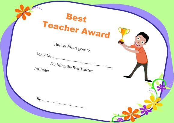 Teacher Of The Month Certificate Templates : 11+ Word Award Intended For Teacher Of The Month Certificate Template