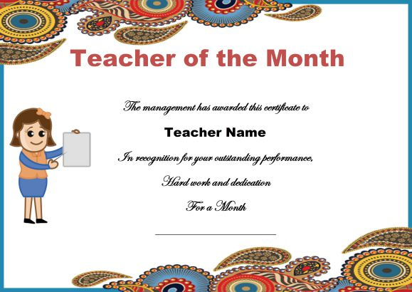 Teacher Of The Month Certificate Templates : 11+ Word Award Pertaining To Teacher Of The Month Certificate Template