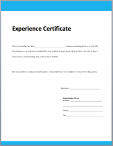 Template Of Experience Certificate In 2020 | Certificate With Best Certificate Of Experience Template