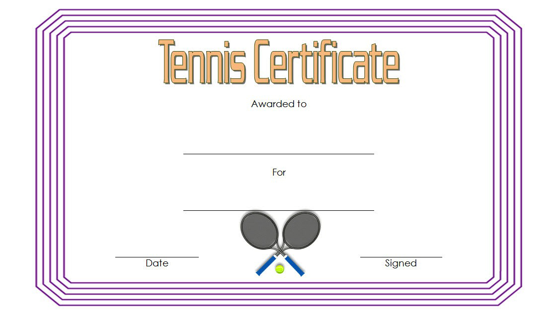 Tennis Award Certificate Template Free 1 In 2020 Pertaining To Tennis Gift Certificate Template
