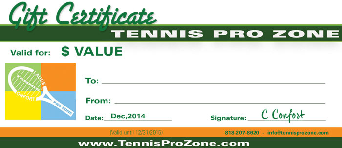 Tennis Pro Zone Gift Certificates Tennis Pro Zone Academy With Regard To Quality Tennis Gift Certificate Template