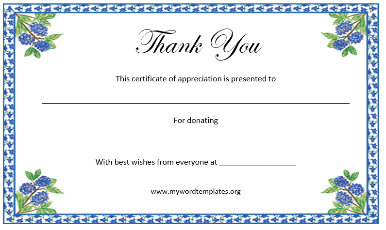 Thank You Certificate Template Free Template Downloads Throughout Thanks Certificate Template