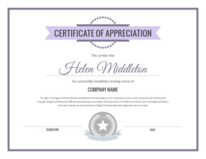 Training Course Of Appreciation Certificate Template | Visme With Regard To Best Small Certificate Template
