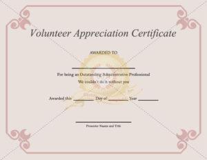 Volunteer Appreciation Certificate Template Certificate Throughout Best Volunteer Of The Year Certificate Template