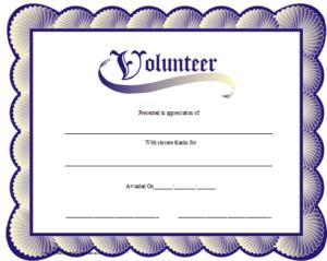 Volunteer Certificate Printable Certificate   Volunteer With Regard To Volunteer Of The Year Certificate Template