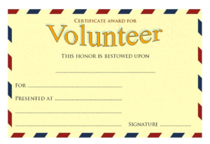 Volunteer Of The Year Certificate Template (2) Templates With Volunteer Of The Year Certificate Template