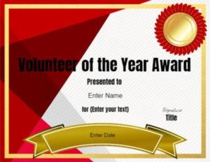 Volunteer Of The Year Certificate Template   Editable For Volunteer Of The Year Certificate Template