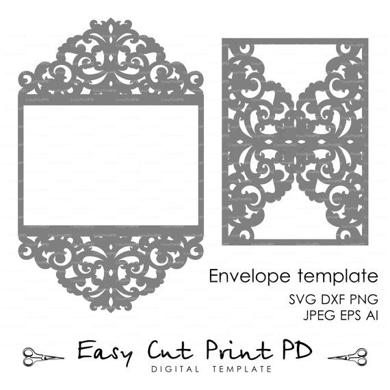 Wedding Invitation Pattern Card Template Lace Folds Studio For Quality Silhouette Cameo Card Templates