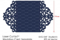 Wedding Invitation Pattern Card Template Lace Folds Studio With Regard To Silhouette Cameo Card Templates