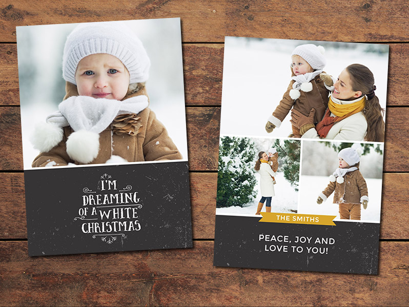 White Christmas Card Template | Photographypla Throughout Holiday Card Templates For Photographers