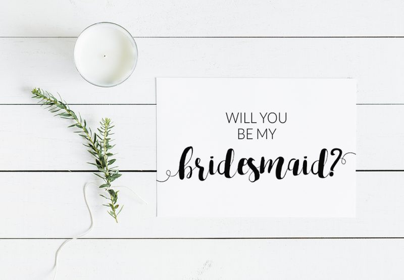 Will You Be My Bridesmaid Modern Minimalist Free Printable Throughout Will You Be My Bridesmaid Card Template