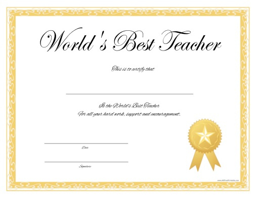 World'S Best Teacher Certificate Free Printable Throughout Intended For Teacher Of The Month Certificate Template